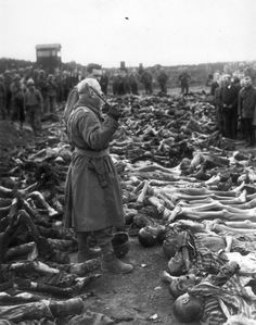 Colonel Edward Seiller of the US Army forces the civilians of Landsberg, Germany to look upon the victims of the neighboring slave labor camp, Kaufering IV.