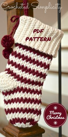 """jolly textures"" crochet Christmas stocking pattern  pay pattern"