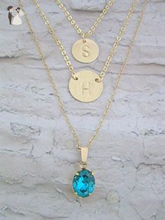 Handmade Designer Gold Filled Layered Necklace, Double Small Initial Charm, One Birthstone Necklace, Mother Gift, Any Initials, - Bridesmaid gifts (*Amazon Partner-Link)