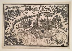 Eight linocuts printed on kitakata rice paper. A must-have set for Harry Potter enthusiasts Map Sketch, Gcse Art Sketchbook, Welcome To Hogwarts, Anniversaire Harry Potter, Fantasy Map, Star Pictures, Harry Potter World, Book Illustration, Illustrations