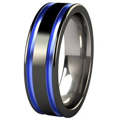 black and blue men's wedding band | Abyss Black Diamond Plated Colored Titanium Ring
