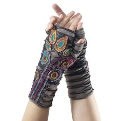 Appliqued Fingerless Gloves - New Age, Spiritual Gifts, Yoga, Wicca, Gothic, Reiki, Celtic, Crystal, Tarot at Pyramid Collection