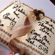 Brides: Chocolate Bible Groom's Cake. For the groom's confection, Galin's mother suggested they serve a sheet cake that resembled a Bible. Galin chose the romantic verse, and J's Pastry Shop in Pensacola created the design, which echoed the tiered wedding cake.
