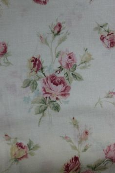 Yuwa Roses Fine Cotton Fabric Light Pink Roses on Cream 816535c. $14.00, via Etsy.