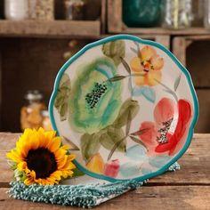 "The Pioneer Woman Vintage Bloom 8.5"" Decorated Salad Plate, Set of 4 - Walmart.com"