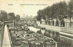 Paris, le quai des Orfèvres et le bassin du Pont-Neuf, vers 1905.