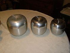 Vintage Aluminum Apple Shaped Canisters set of 3 Made in Italy Metal Unique