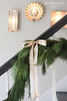 Stairway Garland for the Holidays Christmas Foyer & Family Room Christmas Stairs, Christmas Mantels, Christmas Kitchen, Christmas Love, Christmas Wreaths, Christmas Decorations, Outdoor Christmas, Christmas Wishes, Holiday Decorating