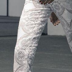 ☯☮ॐ American Hippie Bohemian Style ~ Boho Lace Cut White Jeans!