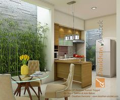 interior ruang makan dan dapur minimalis. lokasi : di kota Bekasi. selengkapnya…