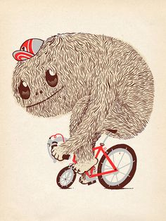 Giclee Print Illustration Art Bicycle Character Fur by bertvanwijk, $40.00