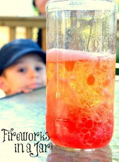 fun chemistry activity for kids is a colourful, bubbly, streaming reaction that reminds me of mini explosions and so I've named it Fireworks in a Jar! Perfect for Canada Day, Victoria Day the Queen's Birthday or Memorial Day! {One Time Through} Science Experiments Kids, Science Fair, Science For Kids, Science Projects, Chemistry Projects, Summer Science, Science Party, Chemistry For Kids, Earth Science
