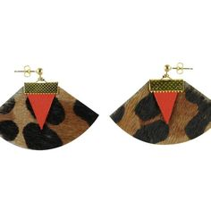 Charly James Zazie Geometrical Golden Metal and Leather Earrings ($35) ❤ liked on Polyvore featuring jewelry, earrings, animal print, leather earrings, earrings jewelry, clasp earrings, metal earrings and animal print jewelry