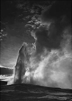 """Old Faithful"" geyser, Yellowstone National Park, Wyoming - Ansel Adams"