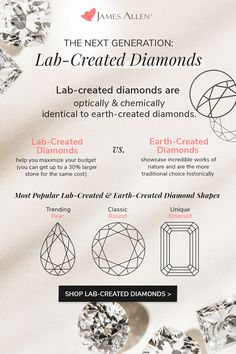 Looking for a big price cut on your diamond? Take a look at lab-created options which are indistinguishable from an earth-mined diamond. Learn more on the blog.