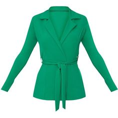 Green Belted Blazer ($40) ❤ liked on Polyvore featuring outerwear, jackets, blazers, blazer jacket, belted jacket, green blazer jacket, green jacket and green blazer