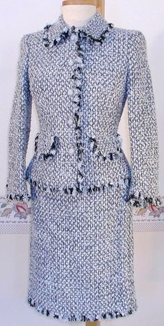 ESCADA Blue Tweed Boucle Skirt Suit Jacket Coat womens 34 $2700 msrp MOB bridal