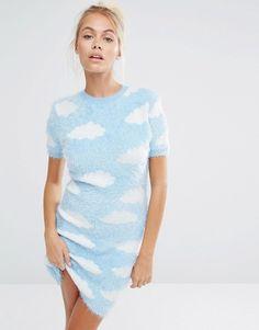 Lazy Oaf Knitted Mini Dress In Fluffy Cloud