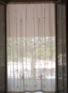 White work, pulled thread and drawn thread curtains - Gorgeous! blog:  Fils et Aiguilles... une Passion