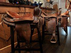 Horse Saddle Bar Stools for Sale - Western Stools - Ideas on Foter Western Bar, Western Saloon, Western Theme, Western Decor, Western Style, Saddle Bar Stools, Wooden Bar Stools, Saddle Chair, Man Cave Bar
