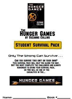 Hunger Games Student Survival Pack with Teacher's Guide - Guided reading activities, discussion questions, and more. Hunger Games Novel, Hunger Games Party, Teaching Secondary, Teaching Kids, Name Activities, Creative Activities, Reading Activities, Teacher's Guide, Readers Workshop