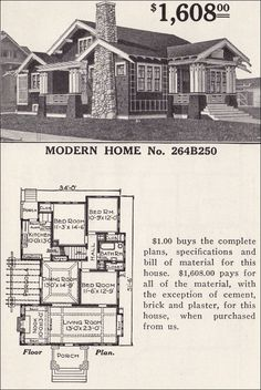 1916 Sears - No. 264B250   Needs French doors out to porch under the pergola.  Upstairs could be one big studio or a studio and storage.