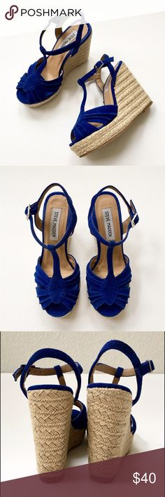 """Steve Madden Peep Toe Mammbow Wedge Espadrille❤ Great summer sandal...a wedge with Espadrille styling. Color: electric blue/royal...natural Hemp colored heel & platform. Heel: 4.5"""" high, platform: 1 1/4"""" high. T-strap styling, ribbed detailing at front upper. Worn once, in very good condition.❤ Steve Madden Shoes Wedges"""