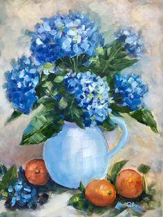Blue hydrangeas Hydrangea Painting, Acrylic Painting Flowers, Watercolor Paintings, Watercolor Flowers Tutorial, Spring Painting, Diy Canvas Art, Flower Art, Art Drawings, Bouquet