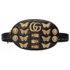Gucci Gg Marmont Animal Studs Leather Belt Bag ($1,890) ❤ liked on Polyvore featuring bags, handbags, black, genuine leather belt, leather belt, leather belt purse, leather waist bag and studded leather purse
