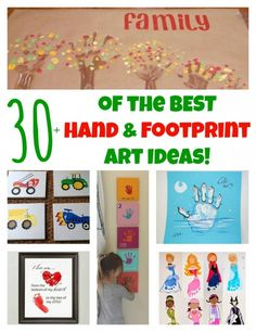 Love the family tree idea! of The BEST Hand and Footprint Art Ideas! Kids crafts with homemade cards, canvas, art, paintings, keepsakes using hand and foot prints! Baby Crafts, Toddler Crafts, Crafts To Do, Crafts For Kids, Projects For Kids, Diy For Kids, Craft Projects, 4 Kids, Yule