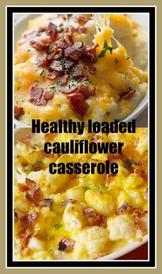 """Healthy loaded cauliflower casserole #carbswitch Please Repin LOADED CAULIFLOWER (LOW CARB, KETO) """"Try this healthy loaded cauliflower casserole. Made with butter, sour cream, chives, cheddar cheese and bacon, it's the ultimate in low carb comfort food!"""" --- Loaded Cauliflower Bake """"Cauliflower is the new potato."""""""