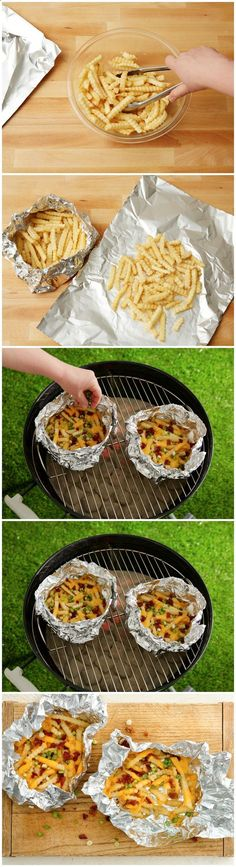 Grilled Foil-Pack Cheesy Fries.  Add ground beef to make it a whole meal?  Easier than cutting up potatoes at the camp site!
