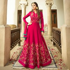 Buy Graceful Pink Colored Designer Embroidered Partywear Georgette Abaya Style Anarkali Suit Online India, Best Prices, Reviews - Peachmode