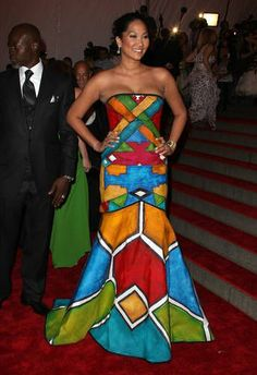Kimora Lee Simmons looked fab in this hand painted, African inspired gown. Africa Fashion, African Inspired Fashion, African Print Fashion, African Attire, African Wear, African Women, African Dress, African Clothes, African Style