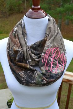 Personalized Camo Infinity Scarf with Custom Personalization Embroidery Monogramming Realtree Camoflauge    This infinity scarf is handmade