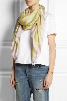 Valentino | Leopard-print cotton and silk-blend scarf | NET-A-PORTER.COM