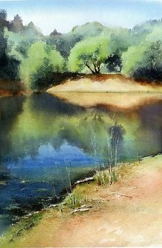 Watercolor, landscape, water, trees Source by Watercolor Water, Watercolor Landscape Paintings, Watercolor Trees, Watercolor Artwork, Watercolor Sketch, Watercolour Painting, Landscape Art, Painting & Drawing, Watercolors