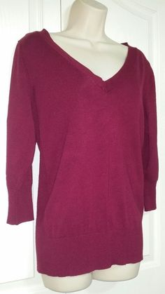 Attention Women's Maroon Slimming V-Neck Ribbed Knit Top Size XL 3/4 Sleeve #Attention #VNeck #Work