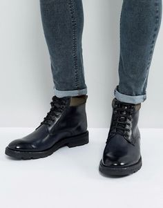 Lace Up Boots In Grey Leather With Cleated Sole - Grey Asos w2E2GEM