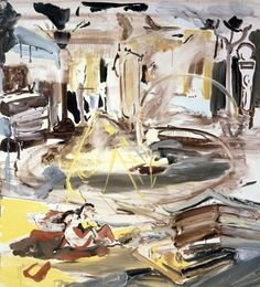 Cecily Brown, In, On, Under, Through, 2005, oil on linen, 114.3 × 104.1 cm. Gagosian Gallery.