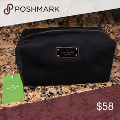 🎉Kate Spade Black Avenue Cosmetic Bag 🎉Kate Spade Black Avenue Medium Cosmetic Bag.  Brand new with tags.  Front features Kate Spade New York logo nameplate.  Inside very spacious with slip pocket on the inside. kate spade Bags Cosmetic Bags & Cases