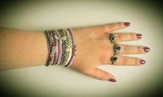 Purple and Grey Beaded Macrame Bracelet Stack