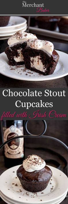 Chocolate Stout Cupcakes filled with Irish Cream