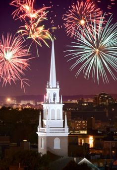 Fireworks over downtown Boston (© Ron Chapple/Getty Images). Boston has the best fireworks I have ever seen! East Coast Travel, East Coast Road Trip, Downtown Boston, In Boston, Best Fireworks, Postcard Size, Maine, Highway 1, Fireworks Displays