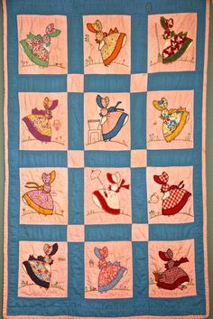 """Sunbonnet Sue quilt posted by Hope at Fairhope Supply Co.  She says:  """"The quilt you see above, was made by my Great Grandmother who lived in North Alabama...  I loved looking at each lady on the quilt since I was a little girl."""""""
