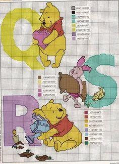 Gráficos em ponto cruz do Pooh completo Você pode enfeitar ainda o alfabeto em ponto cruz do pooh com ...
