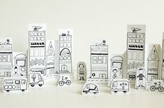 Free printable paper city and vehicles. Could these be any cuter?