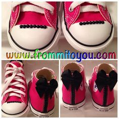 Custom Black Pearl toe design and back seam with bow. Custom Converse, All Star, Converse Chuck Taylor, Baby Shoes, Bling, Bow, Pearl, Kids, Shopping