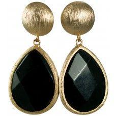 16KT GOLD-SEMI PRECIOUS GOLD BUTTON EARRINGS-WITH BLACK QUARTZ