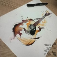 15 Super Ideas For Music Tattoo Ideas Guitar Tat Guitar Drawing, Guitar Painting, Guitar Art, Painting & Drawing, Easy Guitar, Music Drawings, Music Artwork, Easy Drawings, Watercolor Design